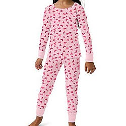 Hanes Girl's Candy Pink 2-pieceThermal Set