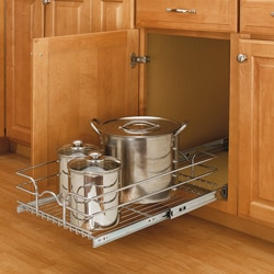 Medium Cabinet-mount Chrome Wire Basket Rack
