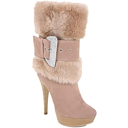 Nancy li Women's Faux Fur Taupe Mid-Calf Boots