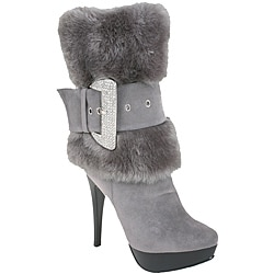 Nancy Li Women's Faux Fur Grey Mid-Calf Boots