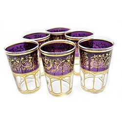 Set of 6 Mek Purple Tea Glasses (Morocco)