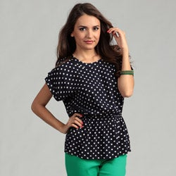R.Q.T Women's Polka Dot Scoop Neck Peplum Blouse