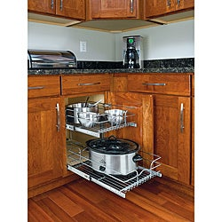 Medium Two-Tier Chrome Wire Cabinet Baskets