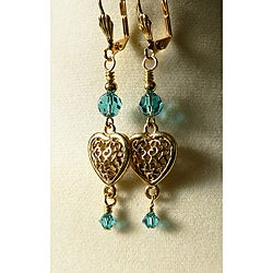 Goldtone 'Santana' Crystal Heart Earrings