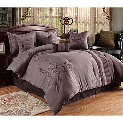 Arabesque Plum/ Grey Oversized 8-piece Comforter Set