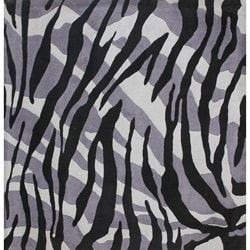 Alliyah Handmade New Zeeland Blend Safari Black Wool Area Rug (6' x 6')