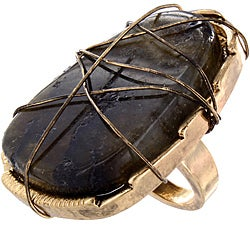 West Coast Jewelry Goldtone Wire-wrapped Charcoal-dyed Stone Slice Ring