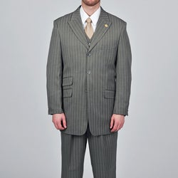 Stacy Adams Men's Grey Striped 3-button Vested Suit