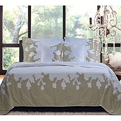 Audrey Floral Cotton 3-piece King-size Quilt Set