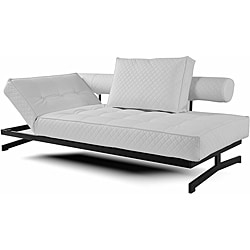 Abbyson Living Geneva White Convertible Euro Sofa Lounger