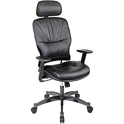 Office Star Leather Managers Chair with 2-Way Adjustable Headrest
