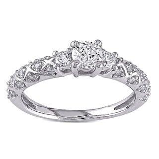 Miadora Signature Collection 14k White Gold 3/4ct TDW Diamond 3-stone Ring (G-H, I1-I2)