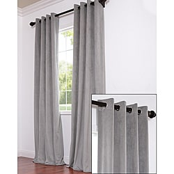 Signature Grommet Grey Velvet 96-inch Curtain Panel