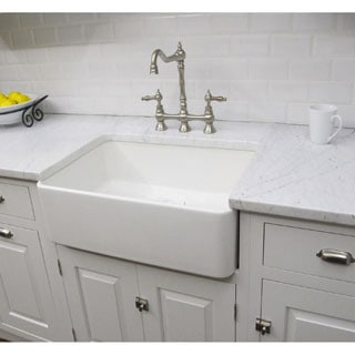 Somette Fireclay Sutton 23.25-inch White Farmhouse Kitchen Sink