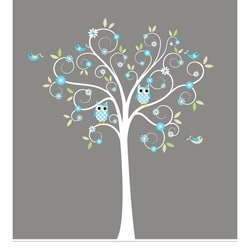 Nursery Wall Art Boy's Curls Branch Tree Owls and Birds Decal Set