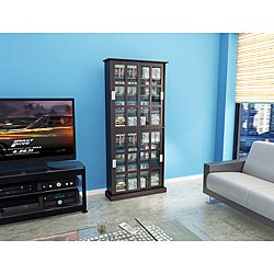 Atlantic 'Windowpane' Espresso Media Cabinet