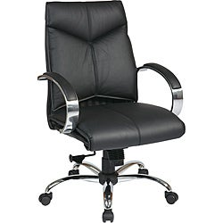Deluxe Mid-Back Executive Black Leather Chair
