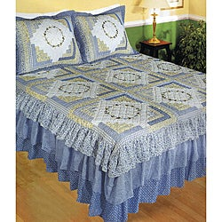 'Morning Glory' Cotton Hand-pieced Embroidered 3-piece Quilt Set