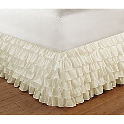 Multi-Ruffle Ivory 15-Inch Drop Queen Bedskirt