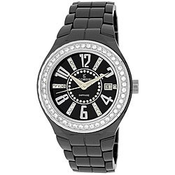 Le Chateau Women's 'Persida' Black Ceramic Zirconia Studded Bezel Watch