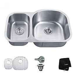 Kraus 32 -inch Undermount 65/35 Double Bowl Steel Kitchen Sink