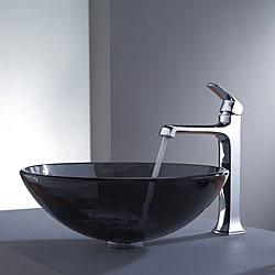 Kraus Clear Black Glass Vessel Sink and Decorum Faucet Chrome