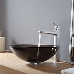 Kraus Clear Brown Glass Vessel Sink and Virtus Faucet Chrome