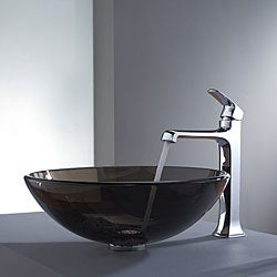 Kraus Clear Brown Glass Vessel Sink and Decorum Faucet Chrome