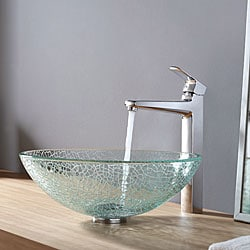 Kraus Broken Glass Vessel Sink and Virtus Faucet Chrome