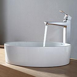 Kraus White Round Ceramic Sink and Virtus Faucet Chrome