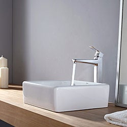Kraus White Square Ceramic Sink and Virtus Faucet Chrome