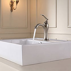 Kraus White Square Ceramic Sink and Ventus Basin Faucet Brushed Nickel