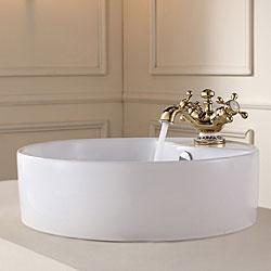 Kraus White Round Ceramic Sink and Apollo Basin Faucet Gold