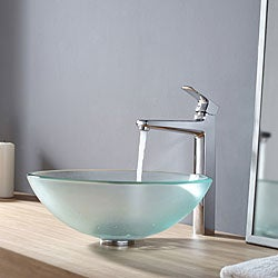 Kraus Frosted Glass Vessel Sink and Virtus Faucet Chrome