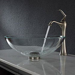 Kraus Crystal Clear Glass Vessel Sink and Ventus Faucet Brushed Nickel