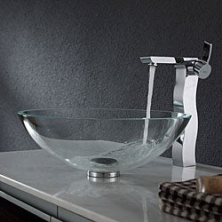 Kraus Crystal Clear Glass Vessel Sink and Sonus Faucet Chrome
