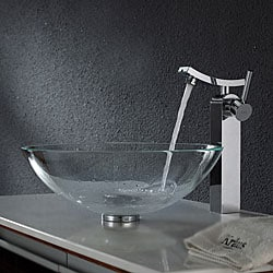 Kraus Crystal Clear Glass Vessel Sink and Unicus Faucet Chrome