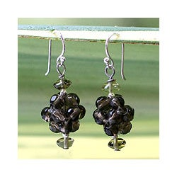Sterling Silver 'Smoky Mystique' Quartz Cluster Earrings (Thailand)