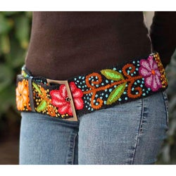 Black Night Bouquet Artisan Designer Women's Fashion Handmade Black Red Green Orange Purple Yellow Wool Leather Trim Belt (Peru)