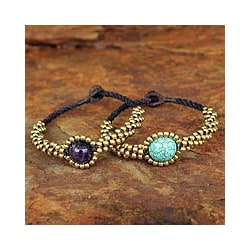 Set of 2 Brass 'Planet Autumn' Amethyst Wristband Bracelets (Thailand)