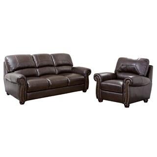 ABBYSON LIVING Monaco Premium Top-grain Leather Sofa and Armchair