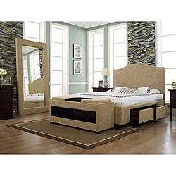  Venice-X Eastern King-size Four-Drawer Almond Fabric Storage Bed