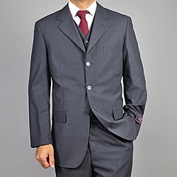 Carlo Lusso Men's Charcoal Grey 3-Button Vested Suit
