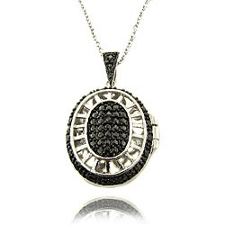 Finesque Silver Overlay Black Diamond Accent Oval Filigree Locket