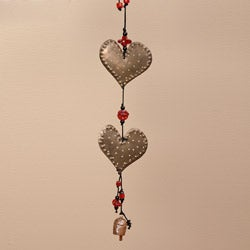 Iron and Glass Double Dotted Hearts Hanging Art (India)