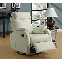 Ivory Bonded Leather Rocker Recliner