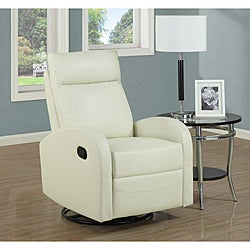 Ivory Bonded Leather Rocker/ Recliner