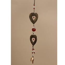 Iron and Glass Double Hearts Hanging Art (India)