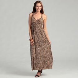 Glamour Women's Brown Animal Print Maxi Dress FINAL SALE