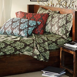Somerset Printed Twin-size Dark Microfiber Sheet Set